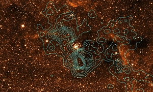 The region of the Arches cluster seen in X-rays (outlines) and in the near-infrared (background image)